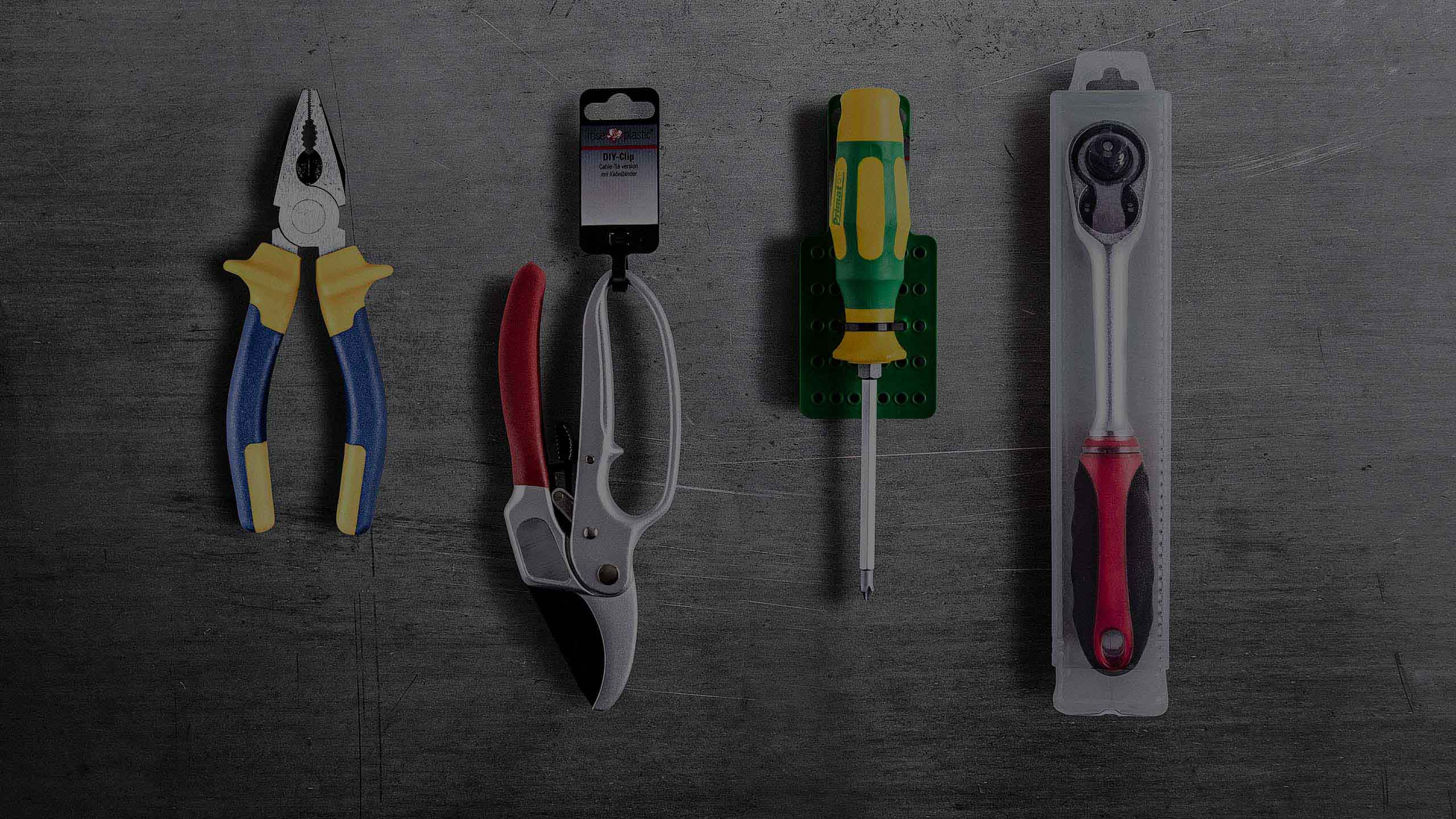 A selection of packaging solutions for hand tools.